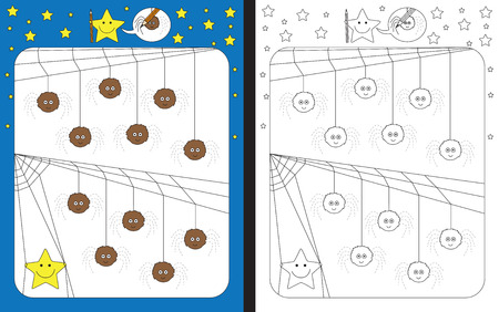 Ilustración de Preschool worksheet for practicing fine motor skills - tracing dashed lines of spider legs - Imagen libre de derechos