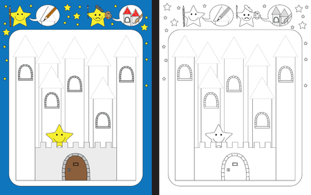 Ilustración de Preschool worksheet for practicing fine motor skills - tracing dashed lines of castle towers - Imagen libre de derechos