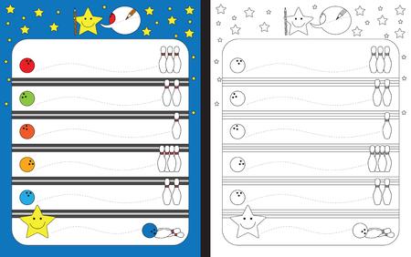 Ilustración de Preschool worksheet for practicing fine motor skills - tracing dashed lines from bowling balls to bowling pins. - Imagen libre de derechos