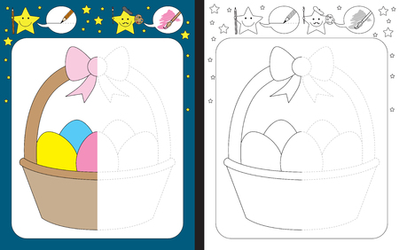 Ilustración de Preschool worksheet for practicing fine motor skills - tracing dashed lines - finish the illustration of Easter basket - Imagen libre de derechos