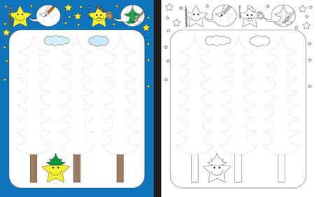 Ilustración de Preschool worksheet for practicing fine motor skills - tracing dashed lines of pine trees - Imagen libre de derechos