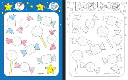 Ilustración de Preschool worksheet for practicing fine motor skills - tracing dashed lines of candy wrappers - Imagen libre de derechos