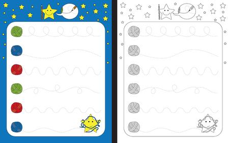 Ilustración de Preschool worksheet for practicing fine motor skills - tracing dashed lines of wool threads - Imagen libre de derechos