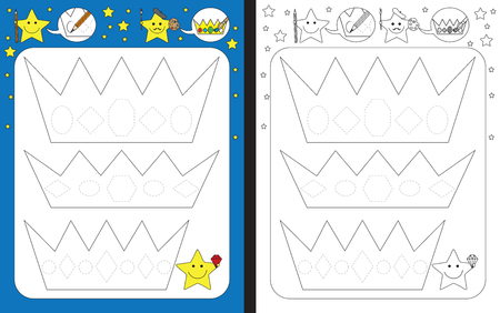 Ilustración de Preschool worksheet for practicing fine motor skills - tracing dashed lines of gems on crowns - Imagen libre de derechos