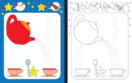 Ilustración de Preschool worksheet for practicing fine motor skills - tracing dashed lines of tea from teapot to cup - Imagen libre de derechos