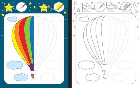 Ilustración de Preschool worksheet for practicing fine motor skills - tracing dashed lines - finish the illustration of hot air balloon - Imagen libre de derechos