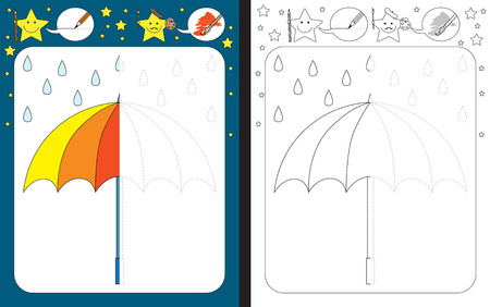 Illustration pour Preschool worksheet for practicing fine motor skills - tracing dashed lines - finish the illustration of an umbrella. - image libre de droit