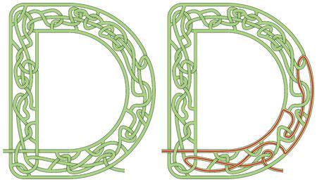 Ilustración de Maze in the shape of capital letter D - Imagen libre de derechos