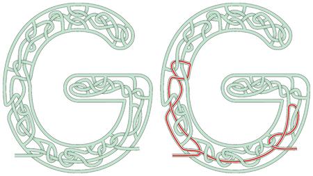 Ilustración de Maze in the shape of capital letter G - Imagen libre de derechos
