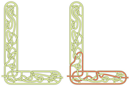 Ilustración de Maze in the shape of capital letter L - worksheet for learning alphabet - Imagen libre de derechos