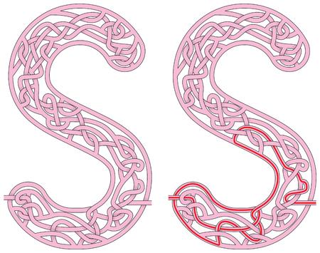 Ilustración de Maze in the shape of capital letter S - worksheet for learning alphabet - Imagen libre de derechos