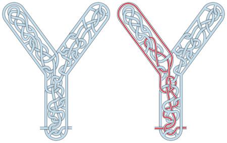 Ilustración de Maze in the shape of capital letter Y - worksheet for learning alphabet - Imagen libre de derechos