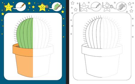 Ilustración de Preschool worksheet for practicing fine motor skills - tracing dashed lines - finish the illustration of a cactus - Imagen libre de derechos