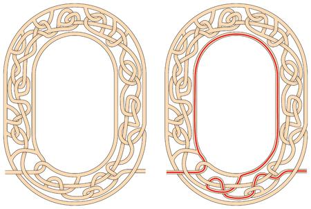 Ilustración de Maze in the shape of number zero  worksheet for learning numbers - Imagen libre de derechos