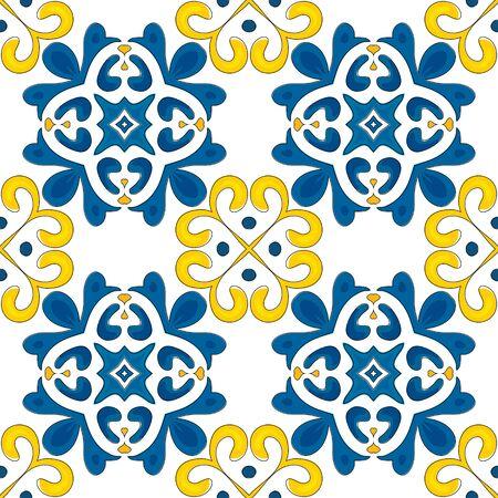 Ilustración de Seamless pattern illustration in traditional style - like Portuguese tiles  - Imagen libre de derechos