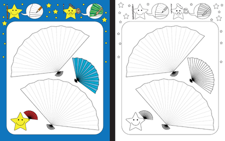 Ilustración de Preschool worksheet for practicing fine motor skills - tracing dashed lines of hand fan - Imagen libre de derechos