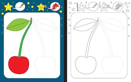 Ilustración de Preschool worksheet for practicing fine motor skills - tracing dashed lines - finish the illustration of a cherry - Imagen libre de derechos