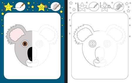 Ilustración de Preschool worksheet for practicing fine motor skills - tracing dashed lines - finish the illustration of a koala - Imagen libre de derechos