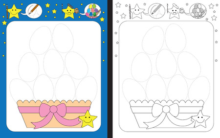 Ilustración de Preschool worksheet for practicing fine motor skills - tracing dashed lines of Easter eggs - Imagen libre de derechos