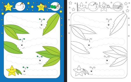 Ilustración de Preschool worksheet for practicing fine motor skills - tracing dashed lines of caterpillars - Imagen libre de derechos