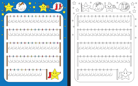 Ilustración de Preschool worksheet for practicing fine motor skills - tracing dashed lines of socks - Imagen libre de derechos