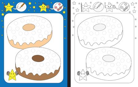 Ilustración de Preschool worksheet for practicing fine motor skills - tracing dashed lines of sprinkles on doughnuts - Imagen libre de derechos