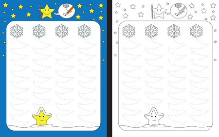 Ilustración de Preschool worksheet for practicing fine motor skills - tracing dashed lines of falling snowflakes trails - Imagen libre de derechos