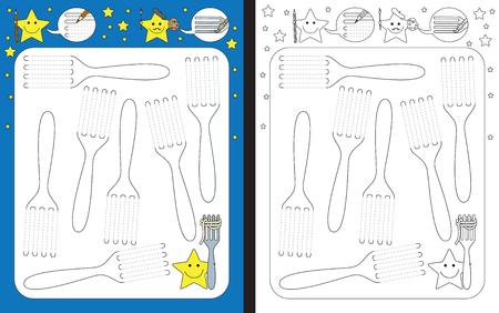 Ilustración de Preschool worksheet for practicing fine motor skills - tracing dashed lines of forks - Imagen libre de derechos