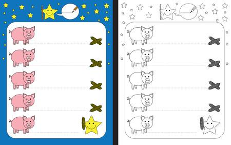 Ilustración de Preschool worksheet for practicing fine motor skills - tracing dashed lines from pigs to corn. - Imagen libre de derechos