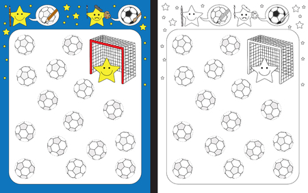 Ilustración de Preschool worksheet for practicing fine motor skills - tracing dashed lines of soccer balls. - Imagen libre de derechos