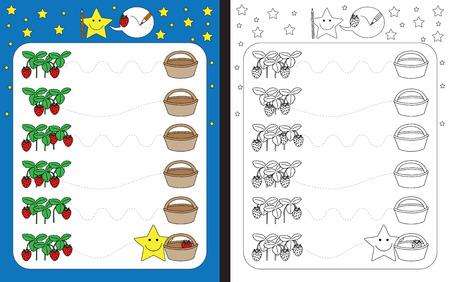 Ilustración de Preschool worksheet for practicing fine motor skills - tracing dashed lines from strawberries to basket - Imagen libre de derechos