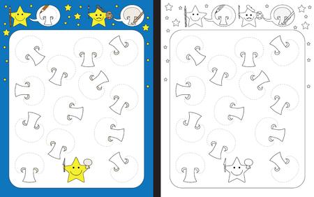 Ilustración de Preschool worksheet for practicing fine motor skills - tracing dashed lines of common mushroom slices - Imagen libre de derechos