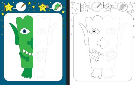 Ilustración de Preschool worksheet for practicing fine motor skills - tracing dashed lines - finish the illustration of green little monster - Imagen libre de derechos