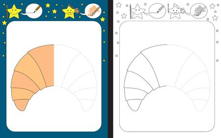 Ilustración de Preschool worksheet for practicing fine motor skills - tracing dashed lines - finish the illustration of a croissant - Imagen libre de derechos