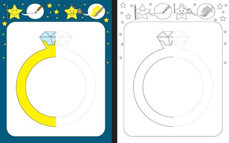 Ilustración de Preschool worksheet for practicing fine motor skills - tracing dashed lines - finish the illustration of a diamond ring - Imagen libre de derechos