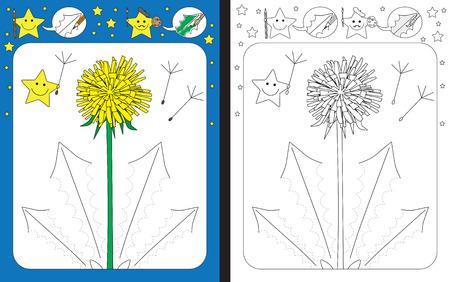 Ilustración de Preschool worksheet for practicing fine motor skills - tracing dashed lines of dandelion leaves - Imagen libre de derechos