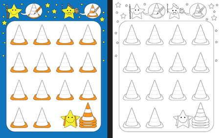 Ilustración de Preschool worksheet for practicing fine motor skills - tracing dashed lines of traffic cones - Imagen libre de derechos