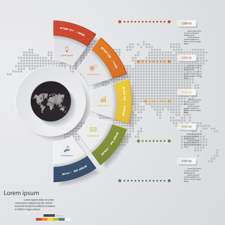 Illustration pour 5 Steps templategraphic or website layout on the stage. Vector Illustration. - image libre de droit