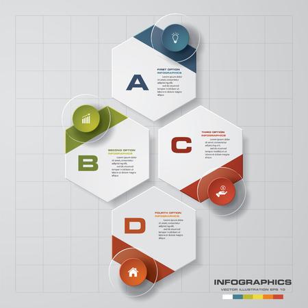 Illustration pour Design clean number banners templategraphic or website layout. 4 steps. Vector. - image libre de droit