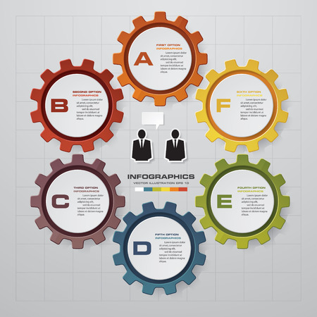 Illustration pour 6 steps of info graphic gears shape on global map background. Simple  Editable vector background for presentation. - image libre de droit