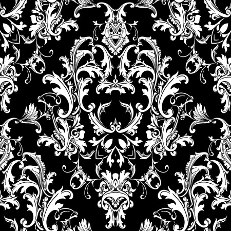 Ilustración de Baroque black white seamless pattern. Luxury floral background wallpaper with damask flowers, scroll leaves,  and antique Baroque ornaments in Victorian style. Elegance design for fabric, prints, wall - Imagen libre de derechos