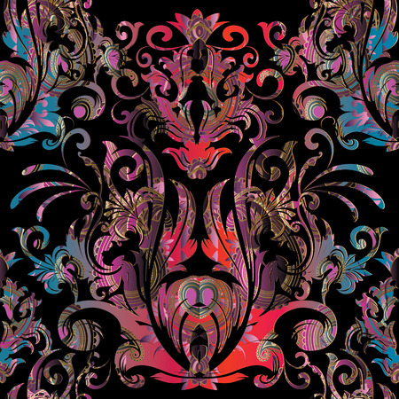 Illustration pour Baroque  vector seamless pattern. Floral  black background with colorful damask flowers, scrolls, curves, leaves, antique baroque ornaments. Luxury design for wallpapers, fabric, prints, textile - image libre de droit