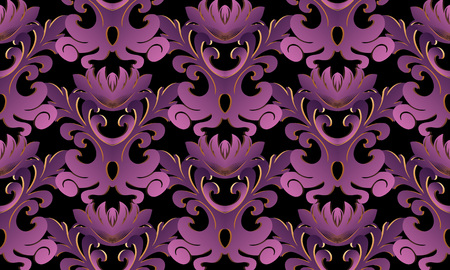 Ilustración de Violet 3d Baroque seamless pattern. Vector black background wallpaper with vintage purple gold 3d flowers, scroll leaves, antique damask ornament in baroque style. Surface floral texture with shadows - Imagen libre de derechos