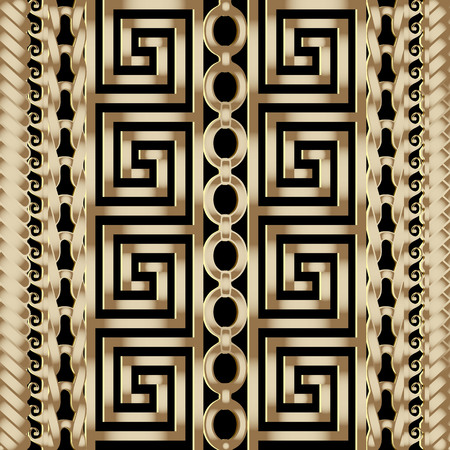 Illustration pour 3d striped braided greek vector seamless borders pattern. - image libre de droit