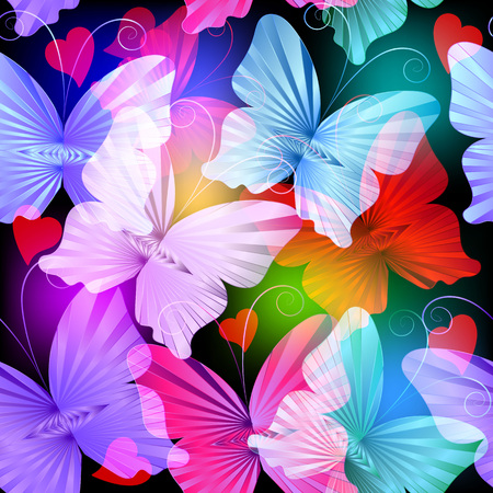 Illustration for Colorful glowing radial butterflies vector seamless pattern. Abstract bright multicolor shiny background. Flying transparent butterflies. Beautiful love hearts decorative design. For cards, wrapping - Royalty Free Image