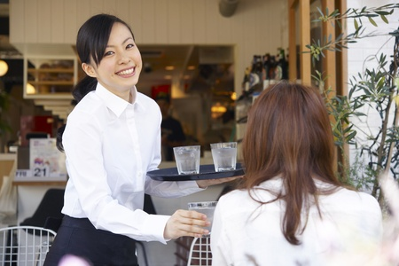 Service woman with a smile