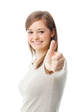 Young woman showing a thumbs up