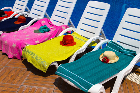 Photo for Sun chairs at the pool - Royalty Free Image