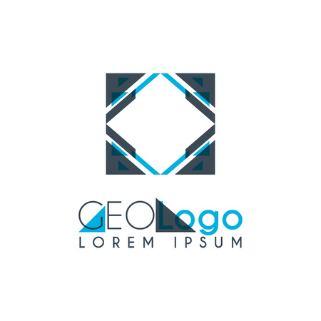Illustration pour geometric logo with light blue and gray stacked for design 3.2 - image libre de droit