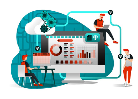 Illustration pour vector illustration of file storage technology, sharing, remote worker, network industry 4.0. people sharing work file. cloud improvement to transfer is effective and faster. flat cartoon character - image libre de droit